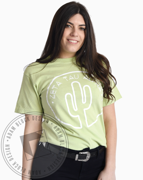 Zeta Tau Alpha Cactus Outline Tshirt-Adam Block Design