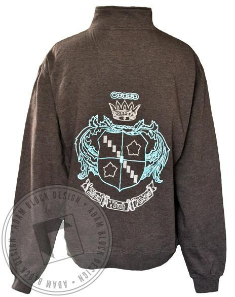 Zeta Tau Alpha Crest Half-Zip Sweatshirt-Adam Block Design