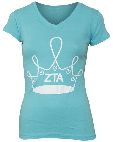 Zeta Tau Alpha Crown Service V-neck-Adam Block Design