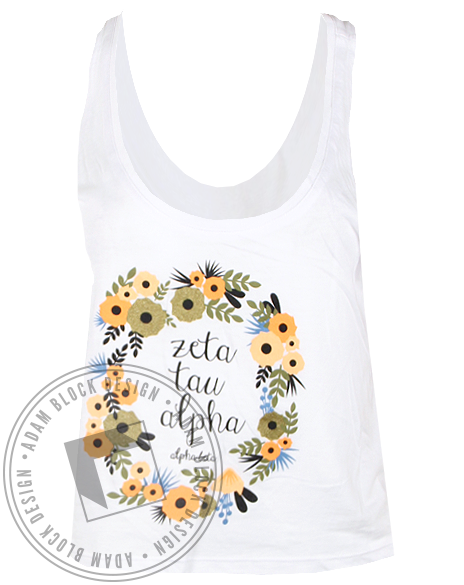 Zeta Tau Alpha Floral Wreath Tank Top-Adam Block Design