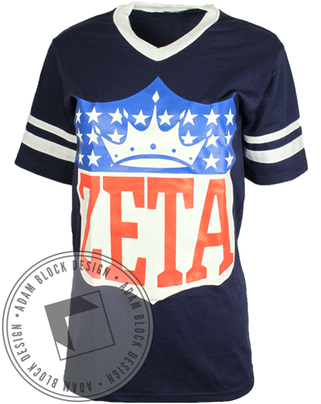 Zeta Tau Alpha Football Tee-Adam Block Design