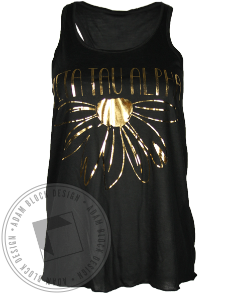 Zeta Tau Alpha Gold Flower Tank Top-gallery-Adam Block Design