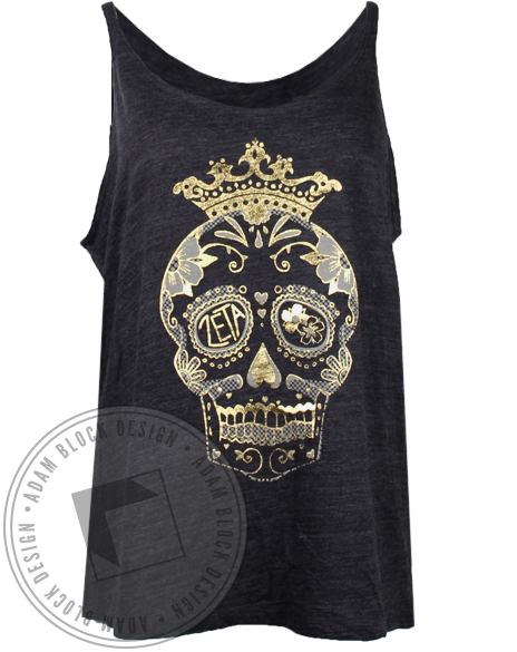 Zeta Tau Alpha Gold Skull Tank Top-Adam Block Design