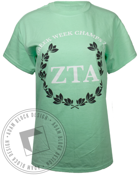 Zeta Tau Alpha Greek Week Champs Tshirt-Adam Block Design