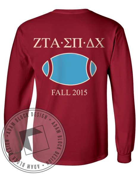 Zeta Tau Alpha Homecoming Football Longsleeve Shirt-Adam Block Design