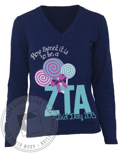 Zeta Tau Alpha How Sweet Long Sleeve-Adam Block Design
