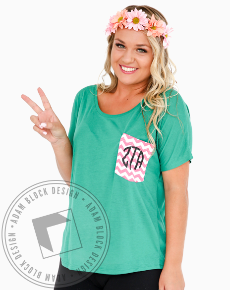 Zeta Tau Alpha Monogram Custom Pocket-Adam Block Design