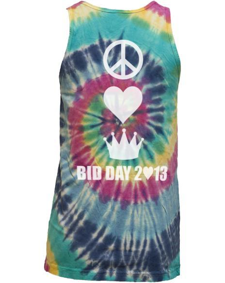 Zeta Tau Alpha Peace Love Tie-Dye Tank-Adam Block Design