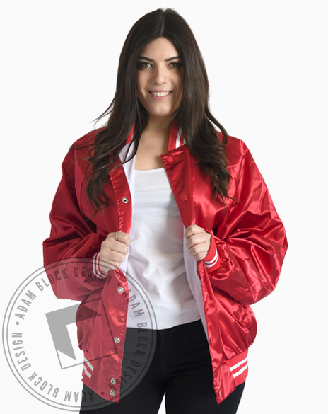 Zeta Tau Alpha Satin Baseball Jacket-Adam Block Design
