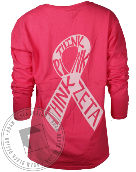 Zeta Tau Alpha Think Pink Longsleeve Shirt-Adam Block Design
