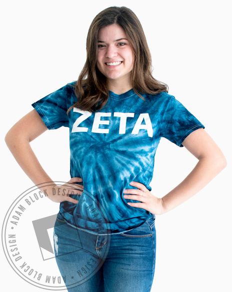 Zeta Tau Alpha Tie Dye T-shirt-Adam Block Design