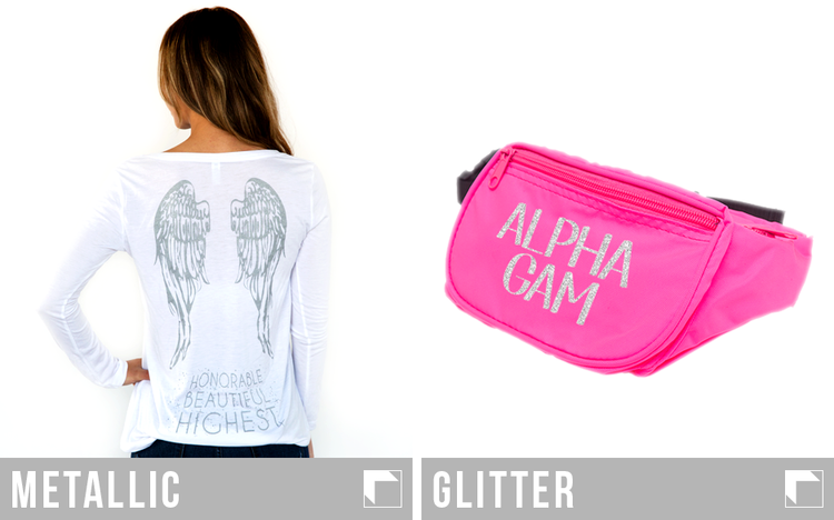 Metallic Printed greek sorority shirtw with an Alpha Gam pink fanny pack printed on with glitter ink