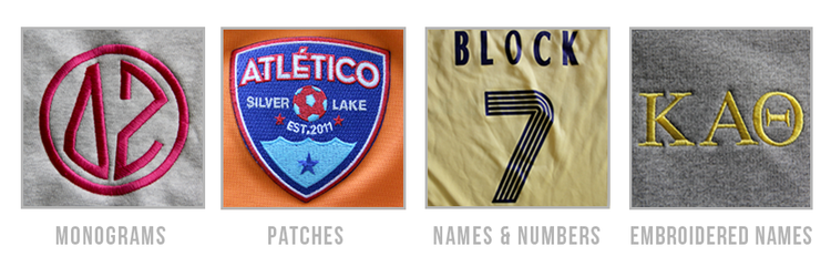 personalization options for custom apparel from Adam block design
