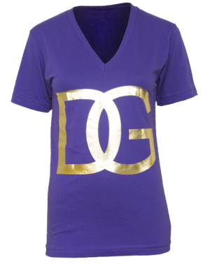 Delta Gamma Gold Foil printed on a purple V-Neck T-shirt
