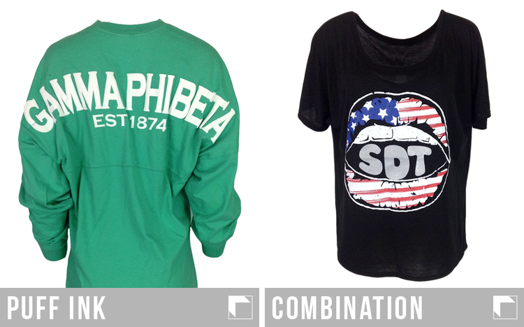 Green spirit jersey with Gamma Phi Beta printed in puff ink and Sigma Delta Tau T-shirt with American Flag Theme using a combination of apparel printing techniques