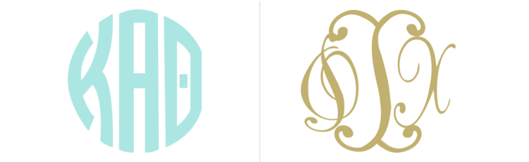 greek letter monograms for customizing greek apparel