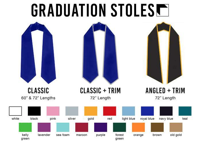 Swatch showing all the available colors for custom graduation stoles for college students