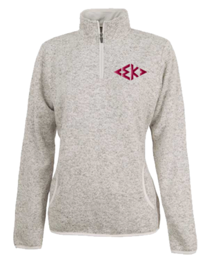 Grey fleece pull over with red greek letters for Sigma Kappa Sorority