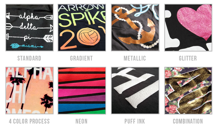 examples of the different kinds of screen printing methods. Standard, gradient, metallic, glitter, four color process, neon, puff ink and combinations.