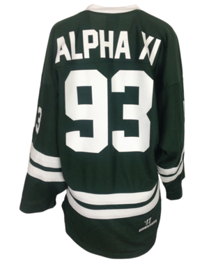 personalized green hockey jersey 93 Alpha Xi