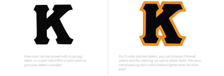 K and K with Gold trim as examples of custom greek letter apparel using stitched letters