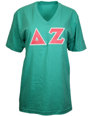 Green Delta Zeta custom T-shirt with applique letters