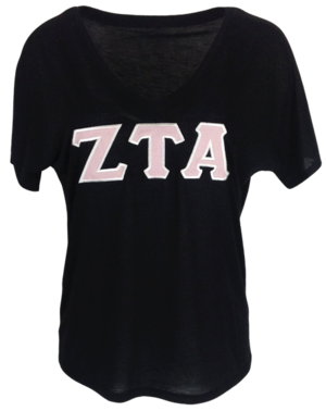 Zeta Tau Alpha Applique T-shirt with pink stitched letters