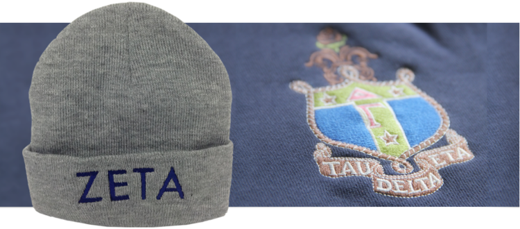 custom embroidered beanie and Tau Delta Eta Crest