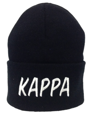 Black beanie embroidered with white lettering