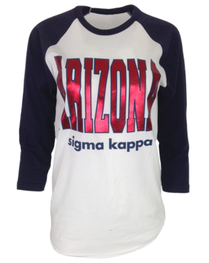 Arizona sigma kappa long sleeve raglan shirt