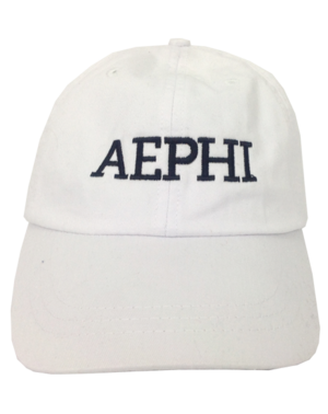 White hat with black embroidered letters reading