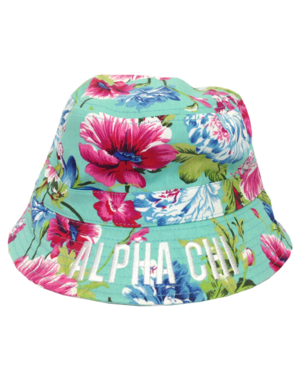 Custom embroidered Alpha Chi Omega floral pattern bucket hat
