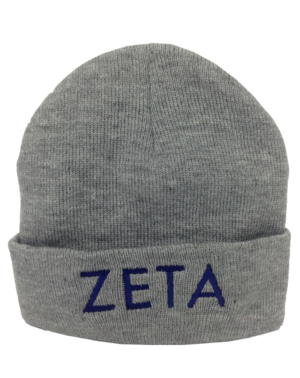 Custom embroidered grey beanie with Zeta lettering