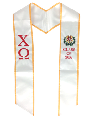 Chi Omega custom embroidered graduation stole XO class of 2016