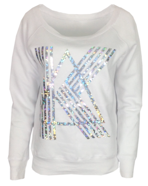 White sweatshirt with Kappa Delta greek letters from various colors of foil print