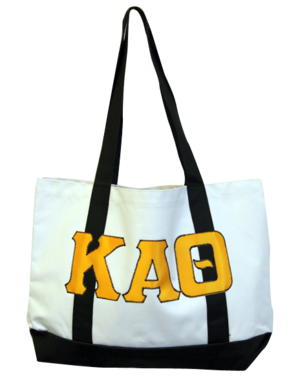 Kappa Alpha Theta Greek letter tote bag with applique letters