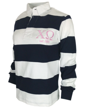 striped rugby style shirt with Chi Omega embroidered greek letter graphic