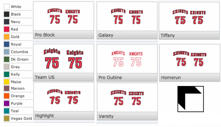 names & numbers personalization options for custom apparel