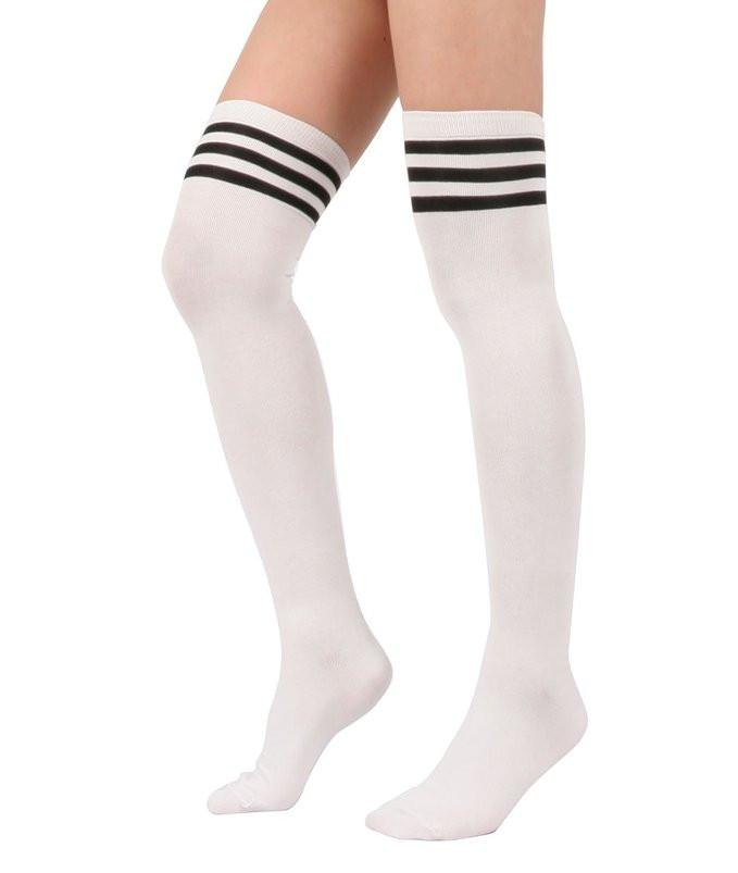 Thigh High Socks - White with Black Stripes