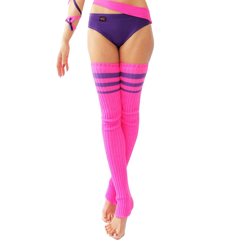 Wink - Striped Stirrup Leg Warmers Neon Pink with Purple Stripe