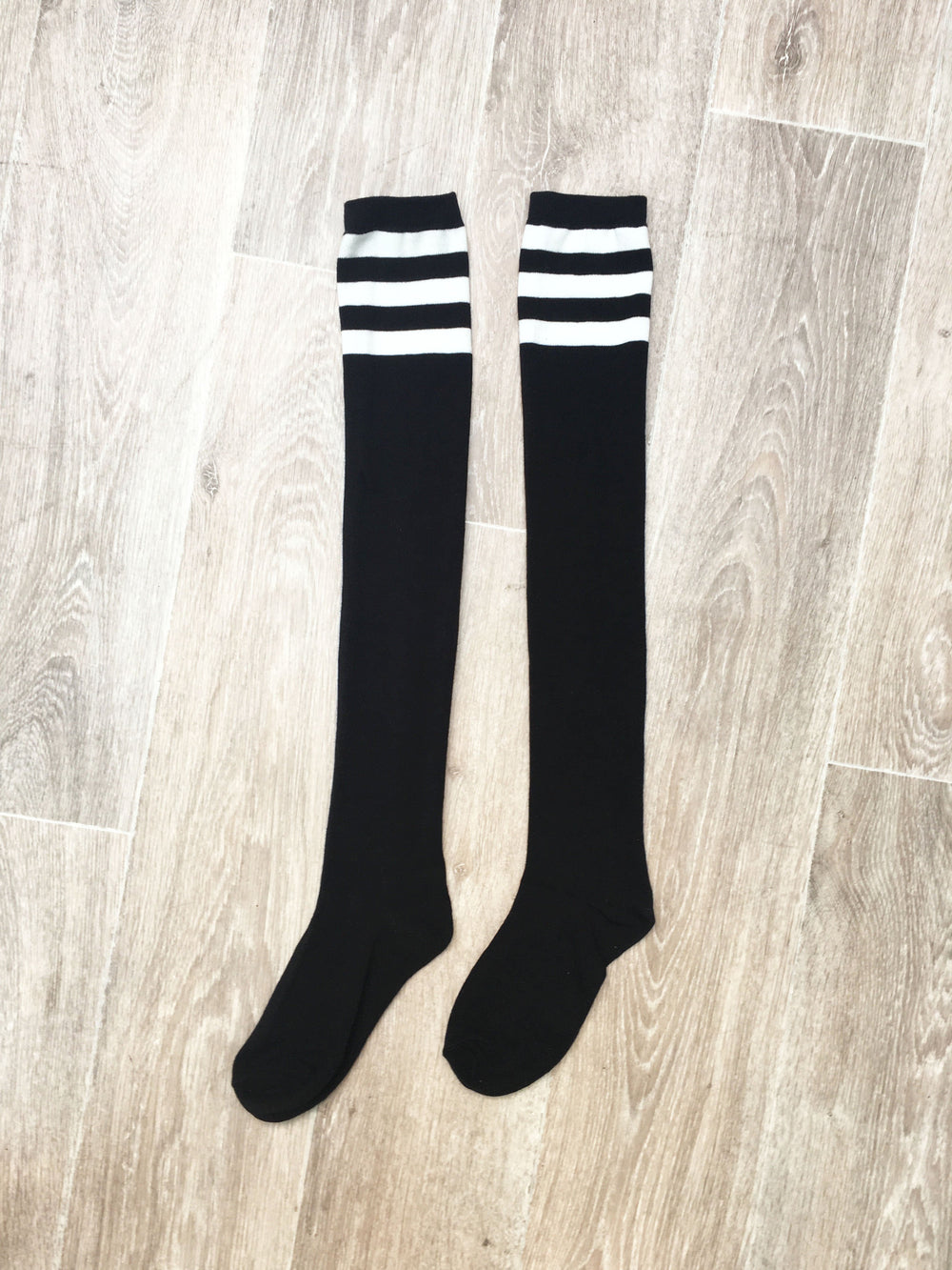Thigh High Socks - Black with White Stripes