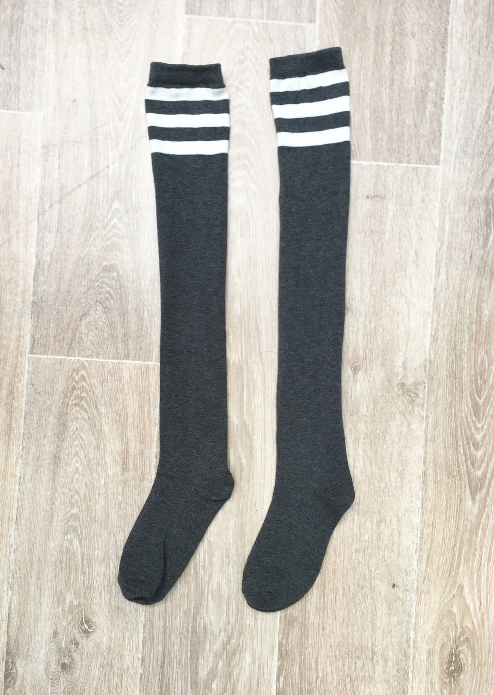 Thigh High Socks - Charcoal with White Stripes
