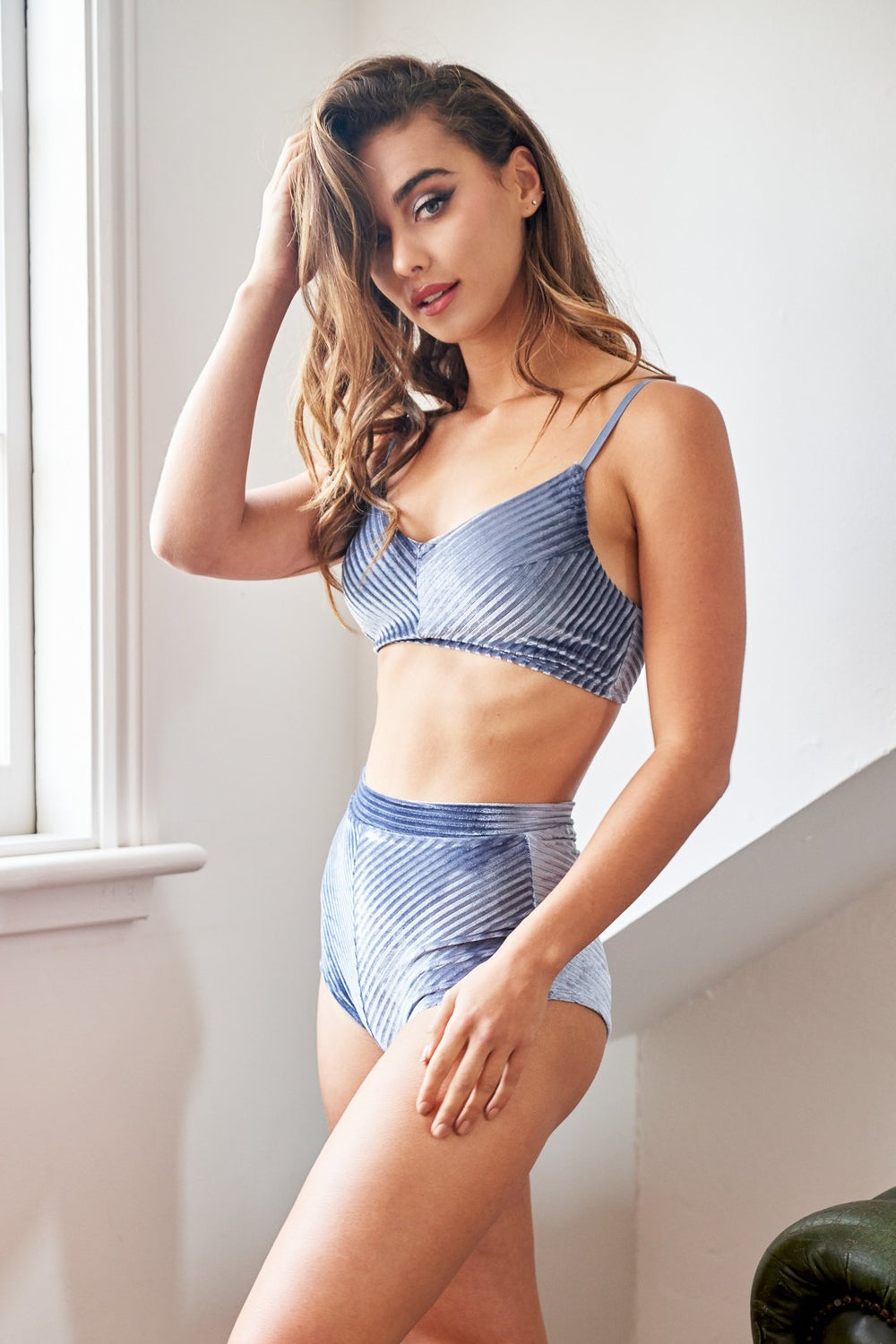 Lana High Waist Shorts - Silver Blue