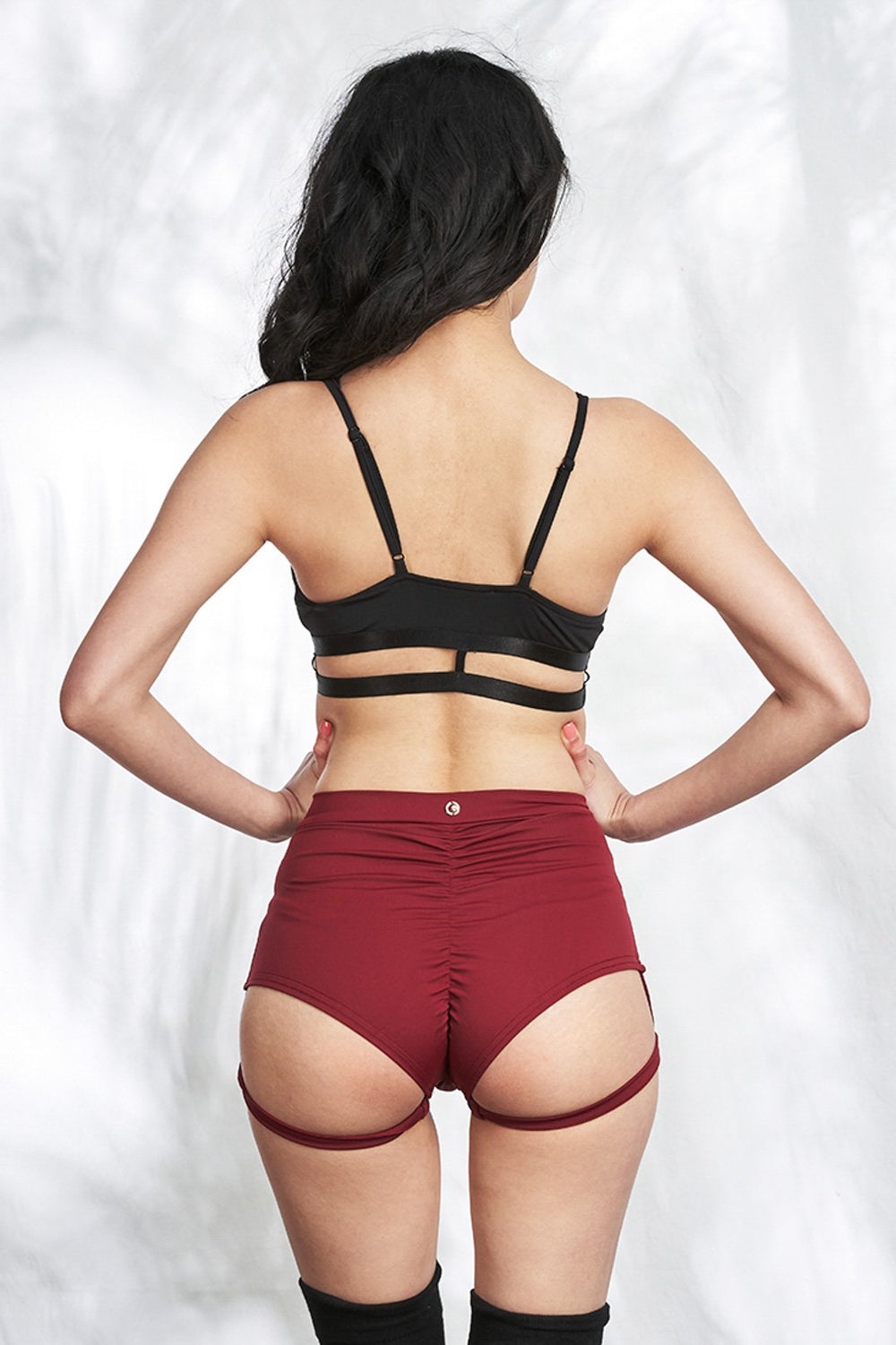 Lure You High Waisted Garter Shorts - Wine