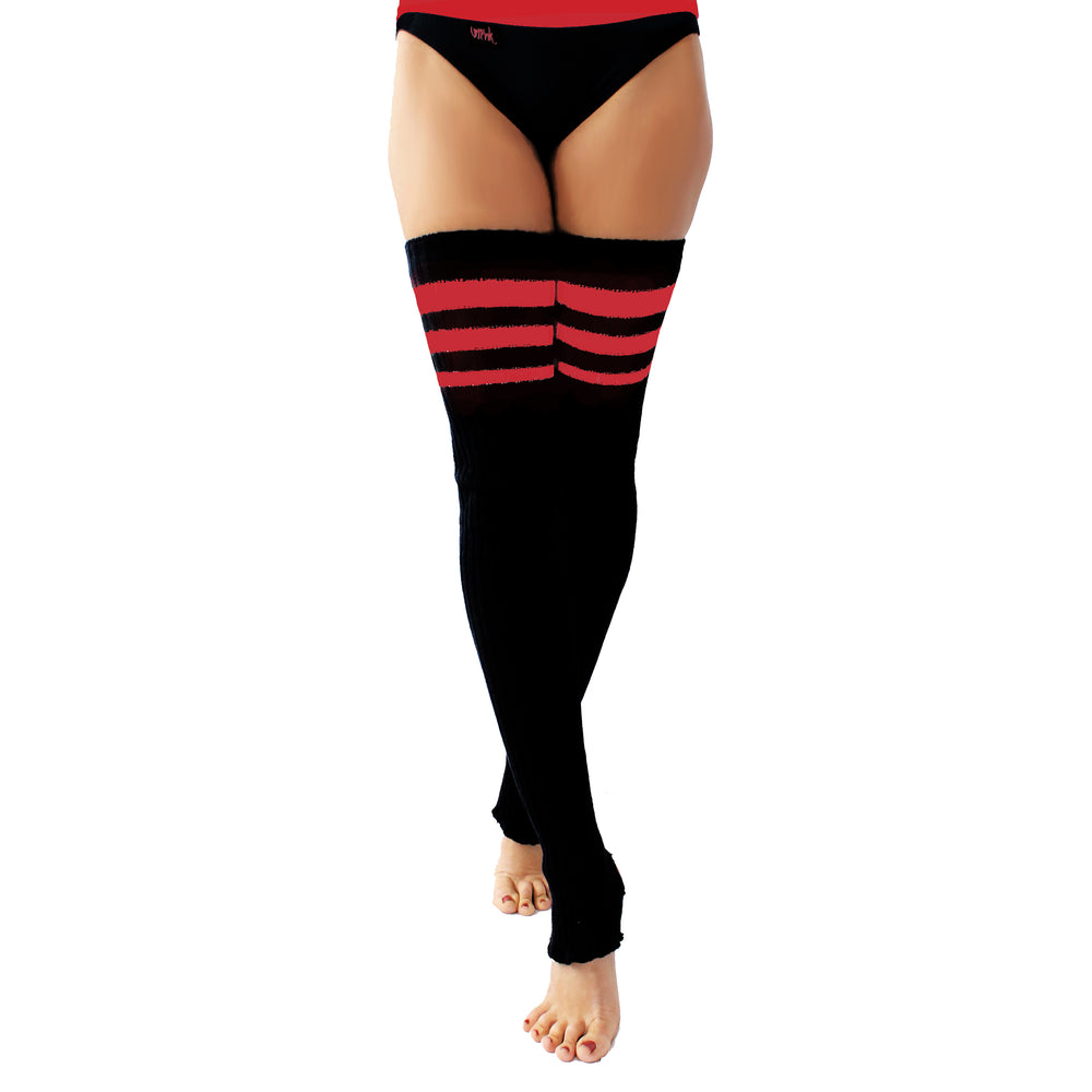 Wink - Striped Stirrup Leg Warmers Black with Red Stripe