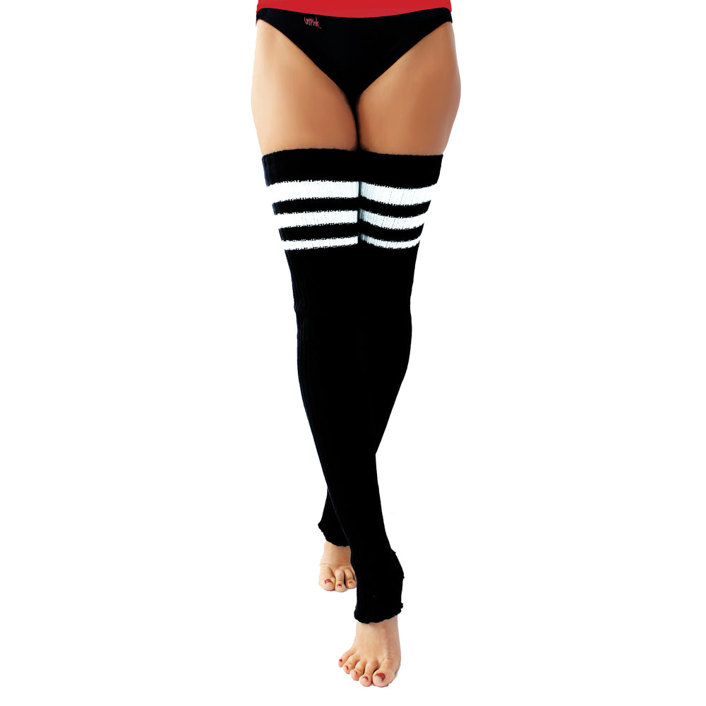 Wink - Striped Stirrup Leg Warmers Black with White Stripe