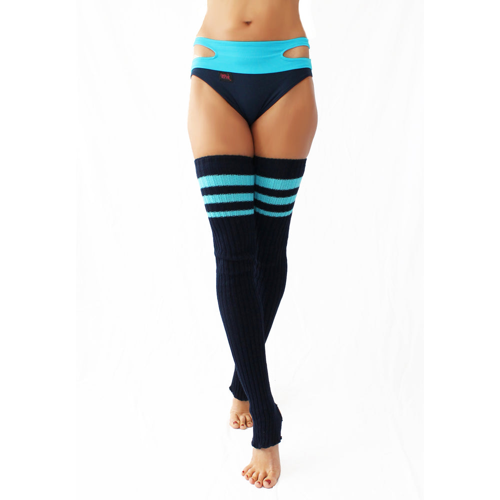Wink - Striped Stirrup Leg Warmers Navy with Turquoise Stripe