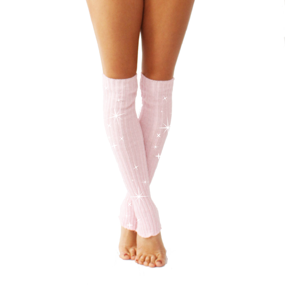 Wink - Sparkly Stirrup Leg Warmers Pale Pink/Silver