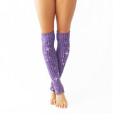 Wink - Sparkly Stirrup Leg Warmers Purple/Silver