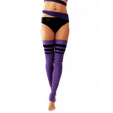 Wink - Striped Stirrup Leg Warmers Purple with Black Stripe